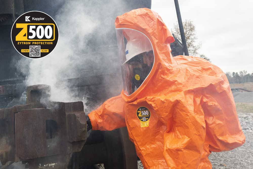 First Responder in Zytron 500 vapor total encapsulating suit works a HazMat situation at a train wreck